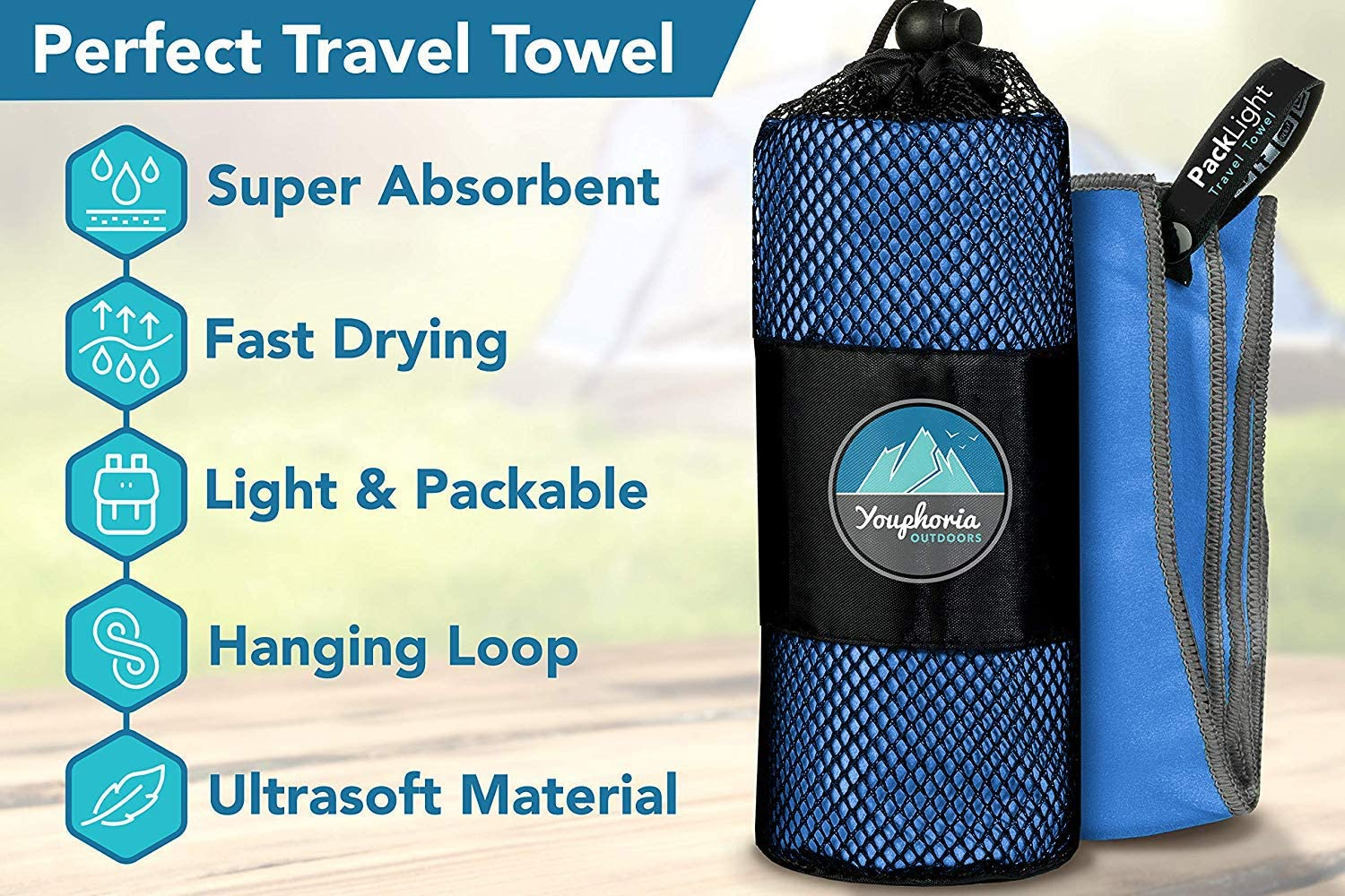 Youphoria Outdoors Microfiber Camping Towel Fast Drying Lightweight - Quick Dry Travel Towel & Sport Towel - 3 Size Options: Sports & Outdoors