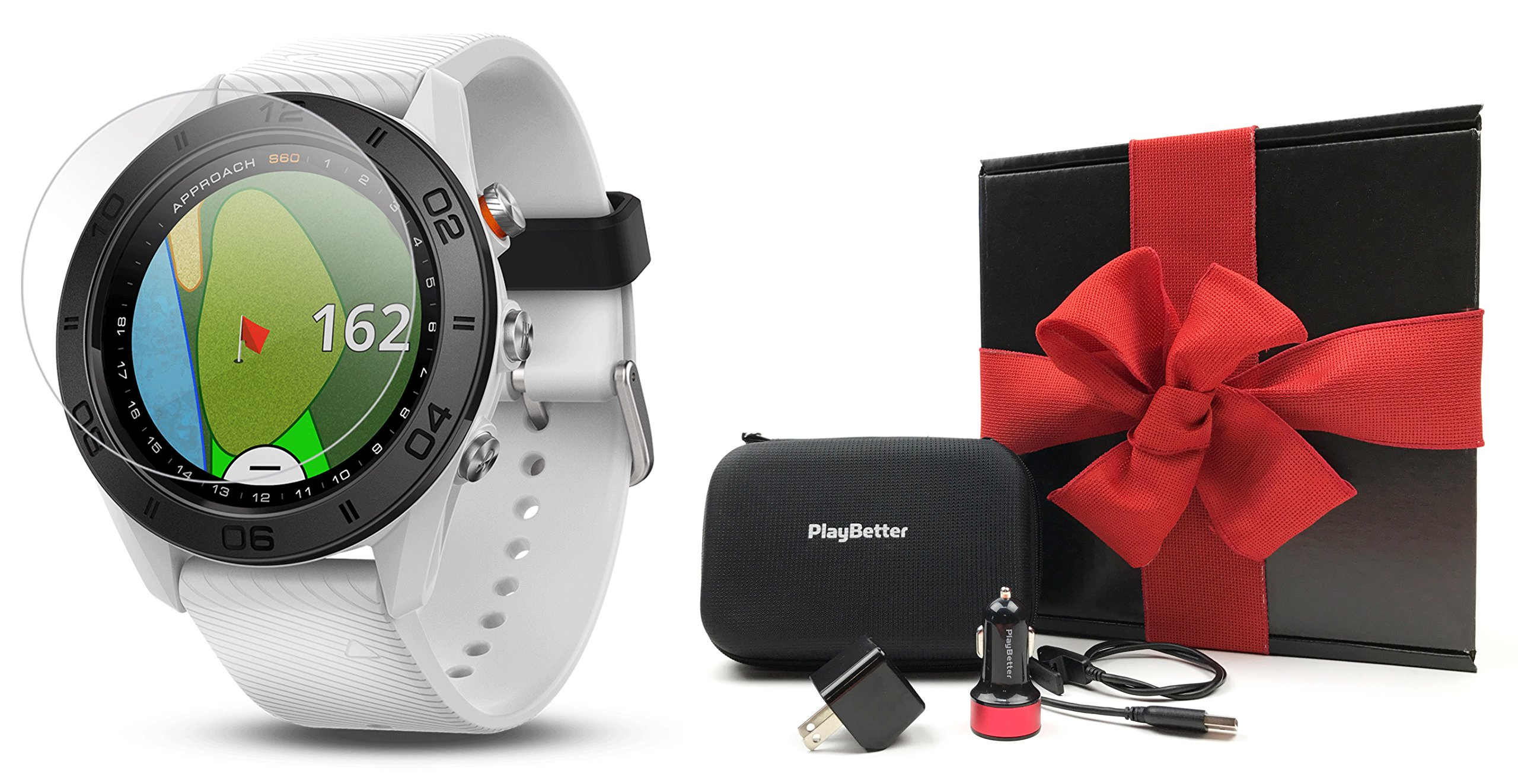 Garmin Approach S60 (White) Gift Box | Bundle includes Glass Screen Protector, PlayBetter USB Car/Wall Charging Adapters & Protective Hard Case | Multi-Sport Golf GPS Watch | Gift Box, Red Bow by PlayBetter (Image #1)