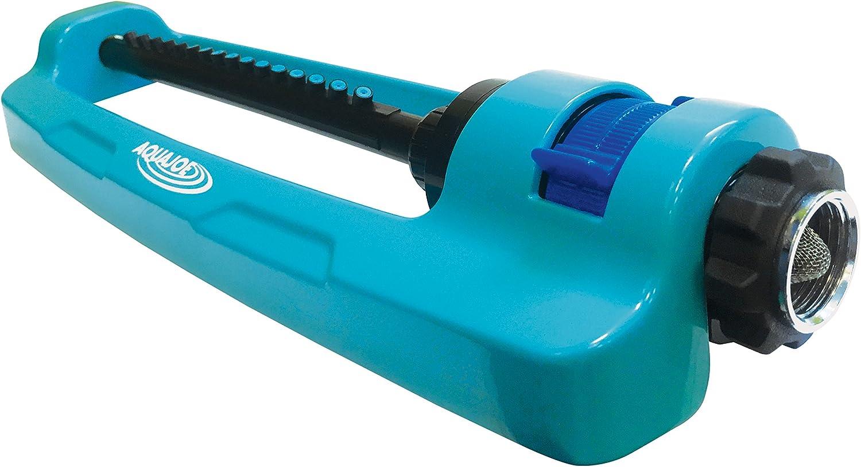Aqua Joe SJI-OMS16 Indestructible Metal Base Oscillating Sprinkler with Adjustable Spray, Blue