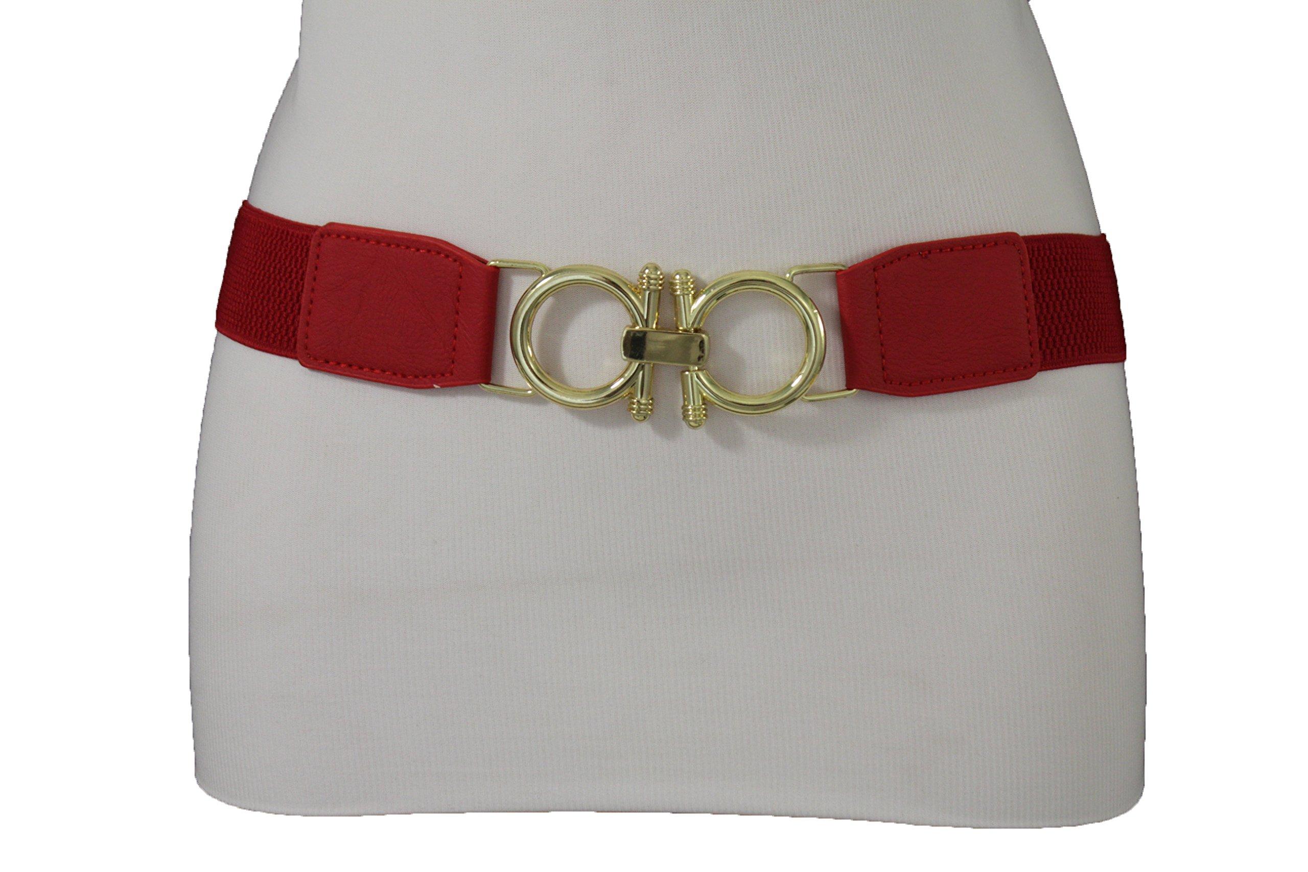 TFJ Women Elastic Fashion Belt Hip High Waist Gold Buckle Elastic Plus M L XL Red