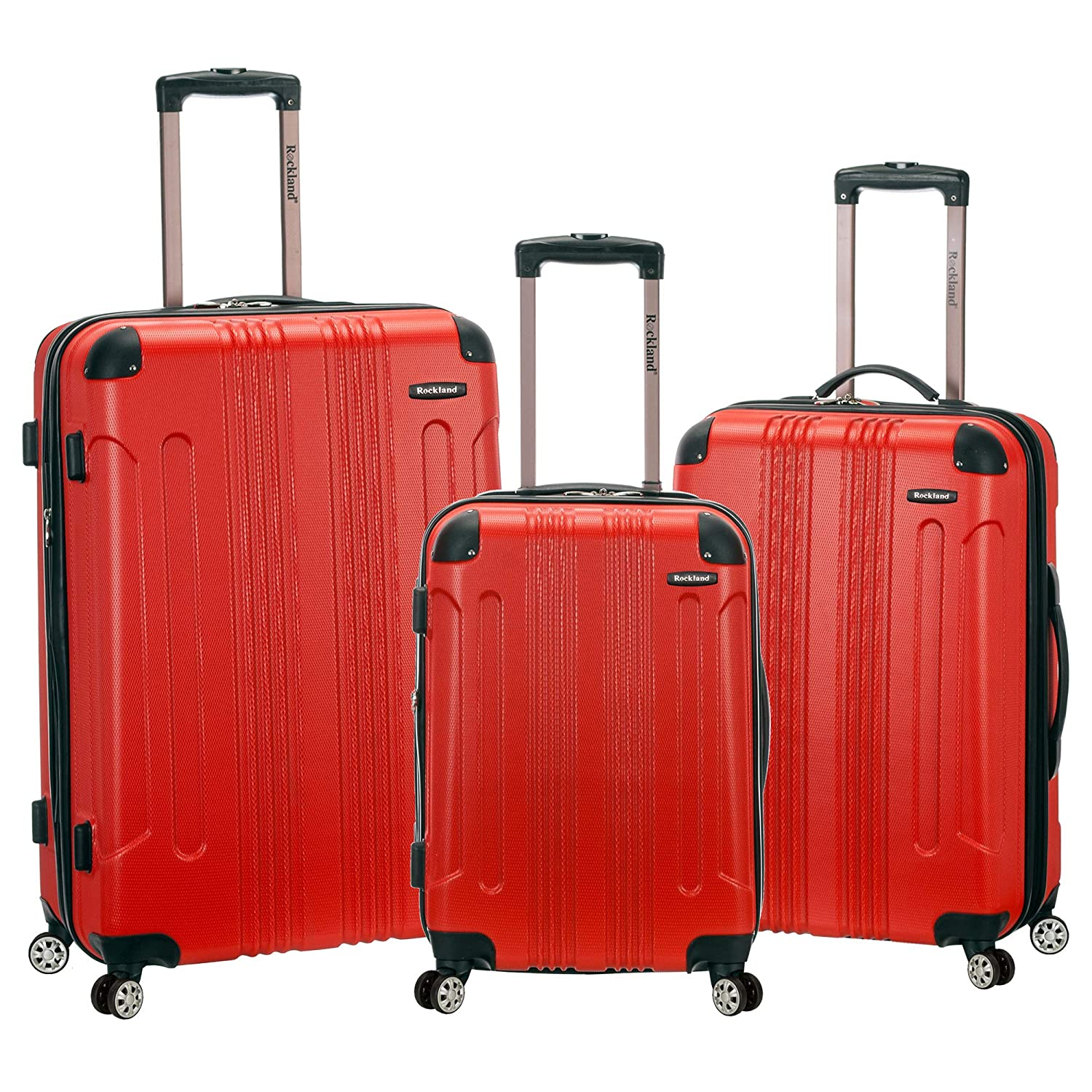 1cc5c52df Amazon.com   Rockland 3 Piece Sonic Abs Upright Set, Red, One Size   Luggage  Sets