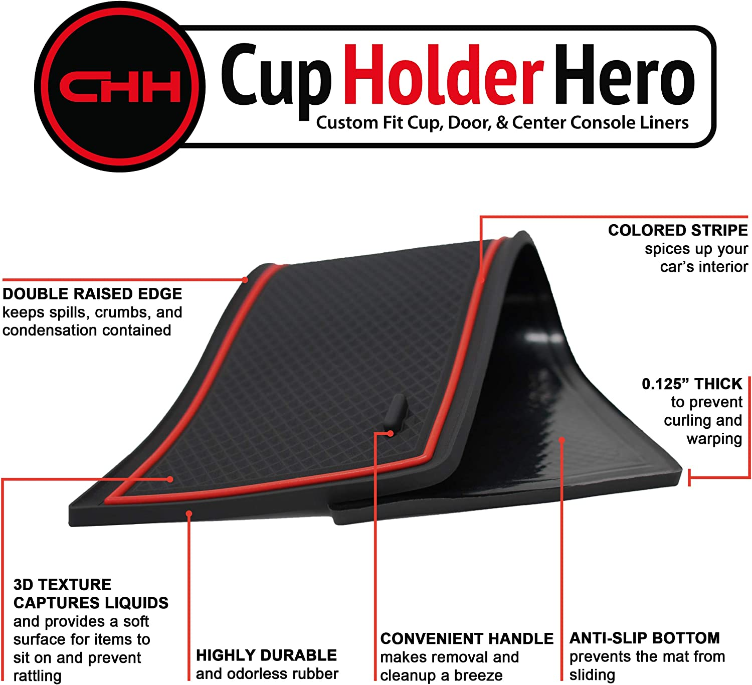 CupHolderHero for Chevy Equinox Accessories 2018-2021 Premium Custom Interior Non-Slip Anti Dust Cup Holder Inserts Center Console Liner Mats Door Pocket Liners 14-pc Set Red Trim