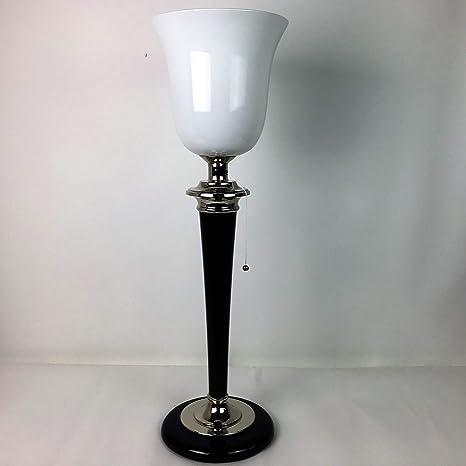 Lámpara de mesa hecha a mano con pantalla blanca, tipo déco ...