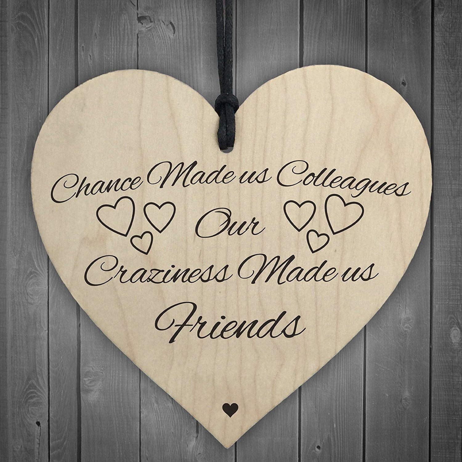Red Ocean Chance Made Us Colleagues Novelty Wooden Hanging Heart Plaque Friendship Sign RO-2563