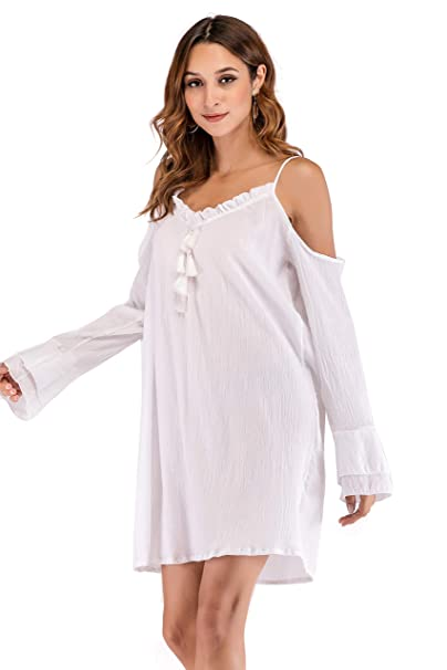 e3d9db3274e05 SUNNOW Women Simple Style Sexy Oversize Bikini Cover Up Beach Blouse Dress ( US4-6