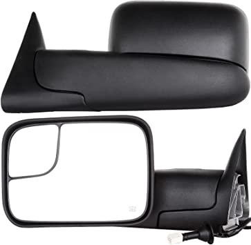 OCPTY Rearview Mirrors Power Heated Towing Mirrors for 1998-2001 Dodge Ram 1500//2500//3500 Truck with Black housing