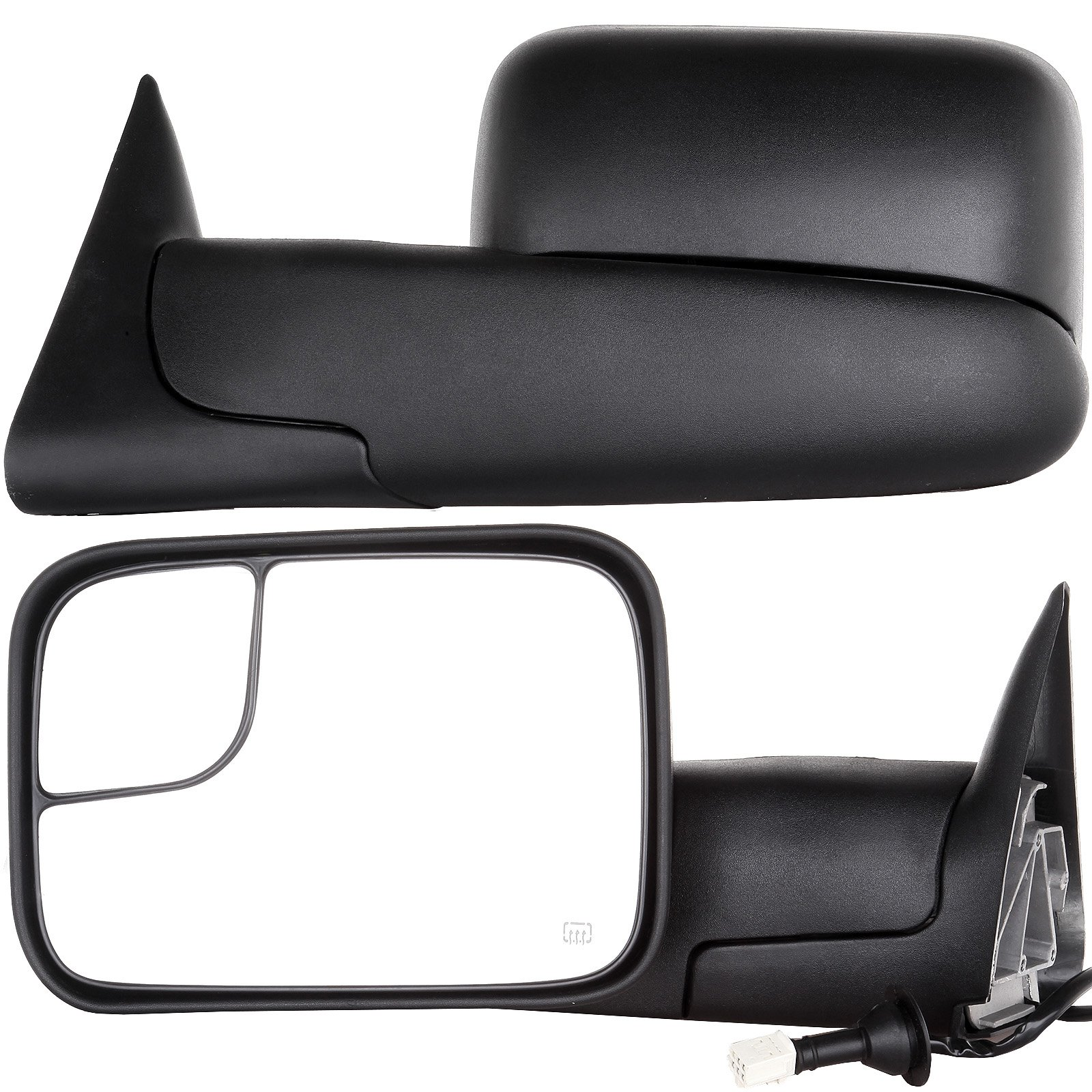 SCITOO Driver and Passenger Manual Side Tow Mirrors 7x10 Flip-Up with Mounting Brackets Replacement fit Dodge Pickup Truck 55156335AD 55156334AD