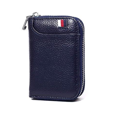 NEU Leder Kartenetui RFID Kreditkartenetui Reißverschluss Geldbörse Dunkelblau