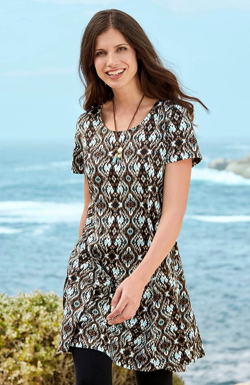 Plus Sizes Ladies Nougat Turquoise Short Sleeved Dress with Pockets in Uk 24-38