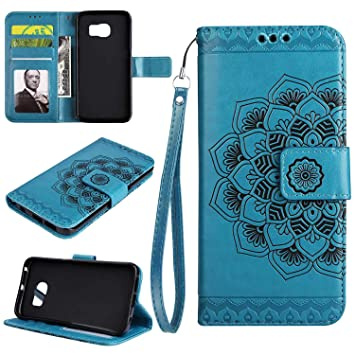 Black Galaxy S5 Case UNEXTATI 3D Emboss Mandala Flower PU Leather Flip Wallet Cover Case with Card Slots and Kickstand for Samsung Galaxy S5