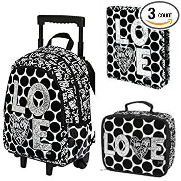 Amazon.com: Justice Love Polka Dot Rolling Backpack, Binder ...