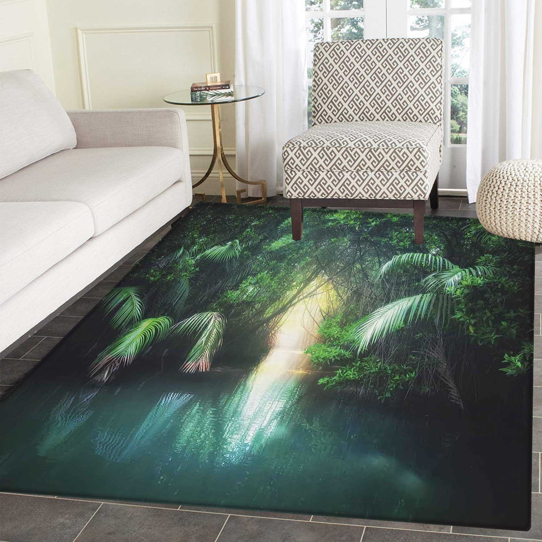 Jungle Dining Room Home Bedroom Carpet Floor Mat Tropical Lake Mangrove Rainforest Pathway through Lush Sri Lanka Travel Destination Non Slip rug 5'x6' ...