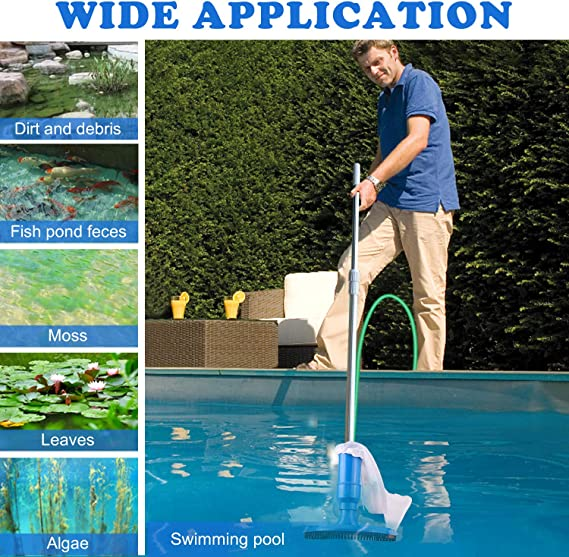 Vacuum Cleaner for Above Ground Pool Vacuum Accessories with 5 Section Pole for for Above Ground Pool,Spas,Ponds /& Fountains Yodeace Pool Cleaning kit