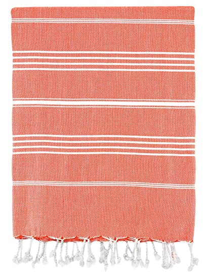 Cotton Ouick Dry And Highly Absorbent Classic Striped Turkish Peshtemal Towel For Multipurpose Coral 70in X 38in