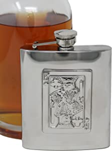 8 oz Pocket Hip Alcohol Liquor Flask in Etched King of Clubs Print - Made from 304 (18/8) Food Grade Stainless Steel