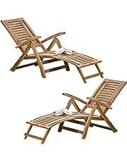 Thompson & Morgan Acacia Hardwood Folding Steamer Deckchair Pre-Treated Garden Furniture with Adjustable Backrest & Integrated Footstool