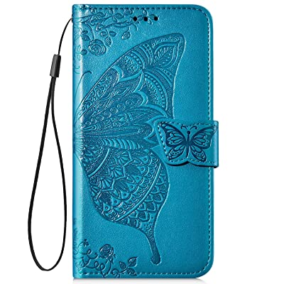 IKASEFU Compatible with iPhone 11 Case Emboss butterfly Floral Pu Leather Wallet Strap Card Slots Shockproof Magnetic Stand Feature Folio Flip Book Cover Protective Case-Blue: Musical Instruments