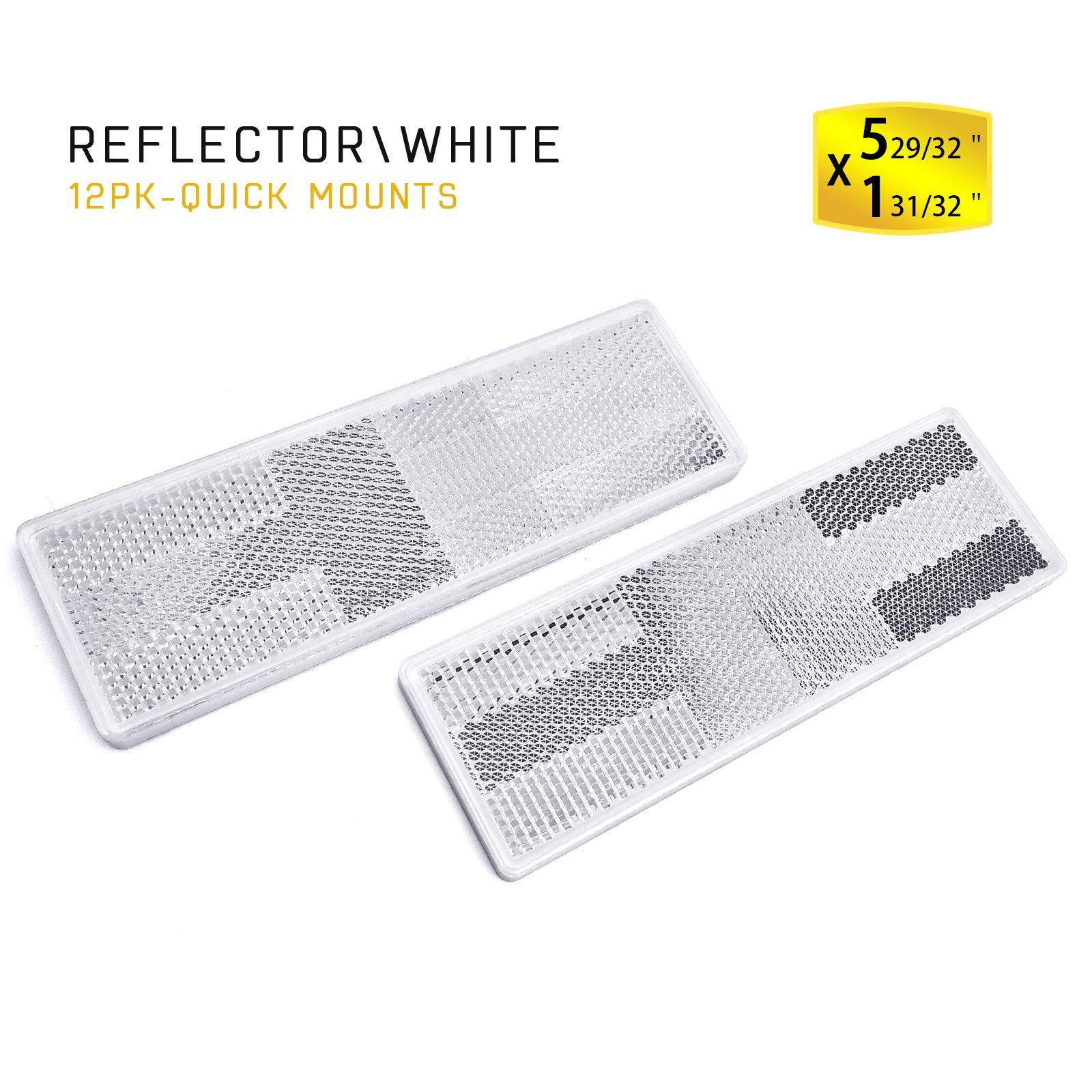 MFC PRO 12Pcs Plastic Rectangular Stick-on Reflector Sticker (White/12Pcs, 150x50mm)