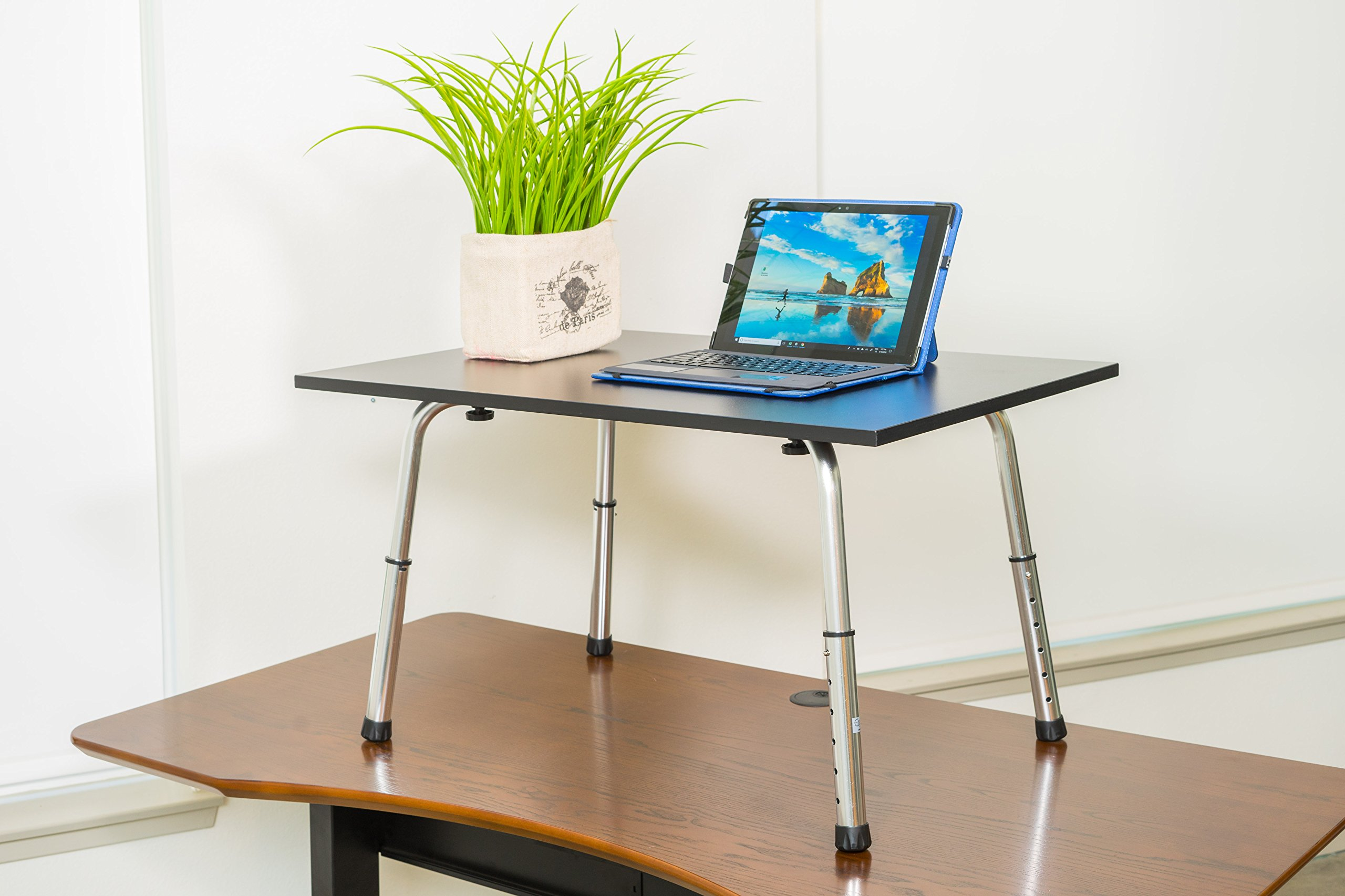Ergomax Office ABC002 Home Office Desks, Extra Long Portable and Versatile Height Adjustable Workstation and Stand Up Desk Table, Laptop Modern Table, Black by Ergomax Office (Image #2)