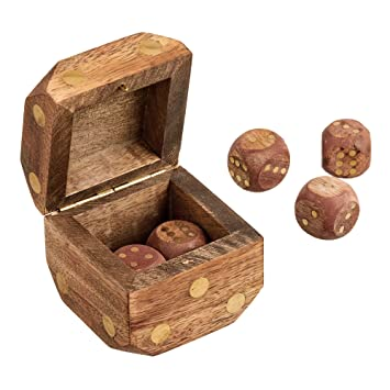 Wood Dice Shaped Dice Box Comes With Handmade 5 Brass Inlay Dice