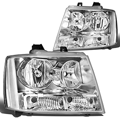 DNA MOTORING HL-OH-CSA07-CH-CL1 Chrome Housing Clear Corner Headlight Assembly Driver & Passenger Side [for 07-14 Chevy Tahoe/Avalanche/Suburban]: Automotive