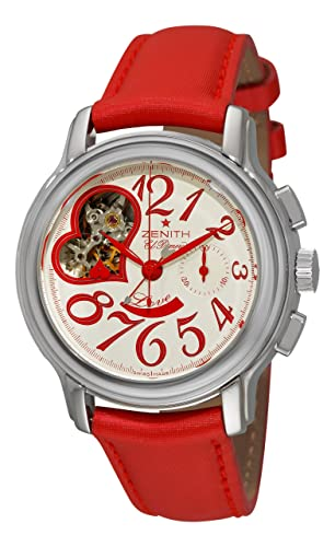 Zenith Women's 03.1230.4021/01.C538 Star Open El Primero Silver and Red Dial Watch