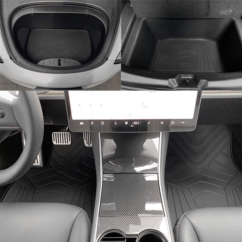 Sporthfish All Weather Waterproof Floor Mats for Tesla Model 3 2017 2018 2019 Black Rubber Eco Friendly Materials All Season Car Floor Liner Mats 5 Pcs Set
