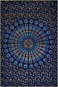 GLOBUS CHOICE INC. Blue Mandala Cotton Indian Small Wall Hanging Poster Tapestry Bohemian Handmade Decorative Wall Art Style Tapestries
