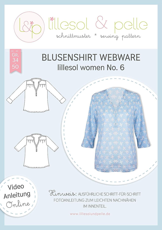 lillesol /& pelle Schnittmuster lillesol Women No.6 Blusenshirt Webware in Gr/ö/ße 34-50 zum N/ähen mit Foto-Anleitung und Video