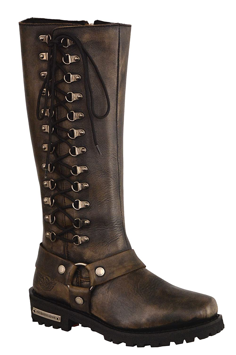 Milwaukee Leather Womens Classic Harness Leather Boots with Full Lacing Black//Beige, Size 9.5//14