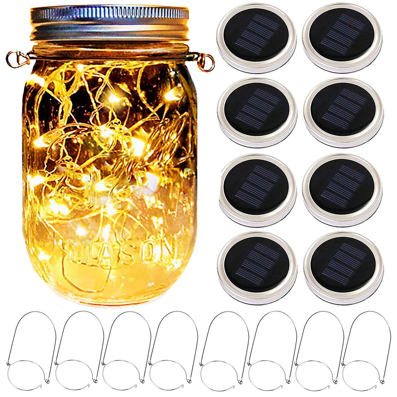 Mason Jar Solar Lantern Lights, 8 Pack 20 Leds Fairy Star Firefly Solar Lids Jar Lights,8 Hangers Included(No Jars),for Mason Jar Wedding Patio Garden Lanterns Table Decorations Lights