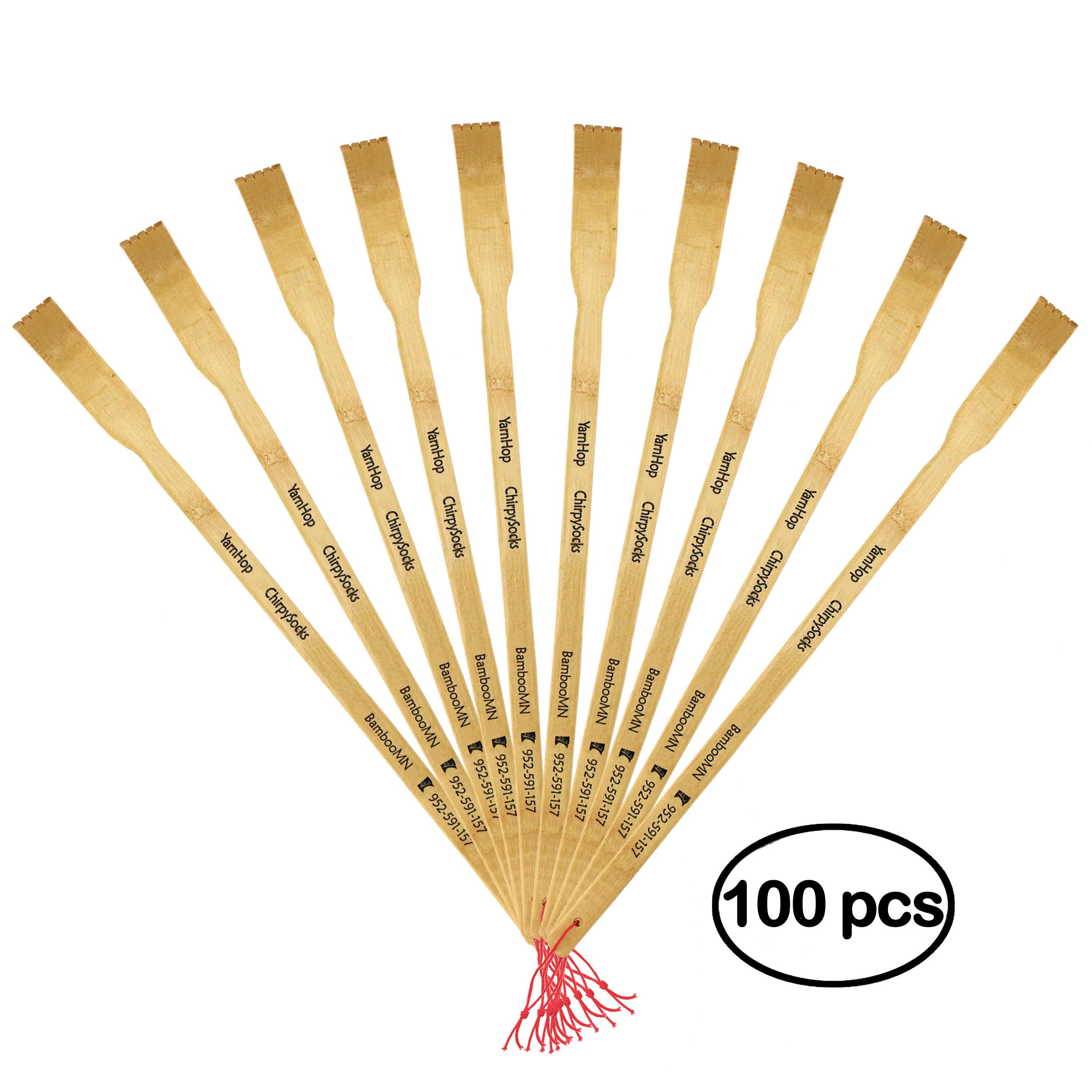 BambooMN 100 Pieces 16.5'' BambooMN Logo Thin Travel Back Scratcher, Provide Instant Relief from Itching Spots, Good Practical and Novel Gifts for Friends and Family by BambooMN