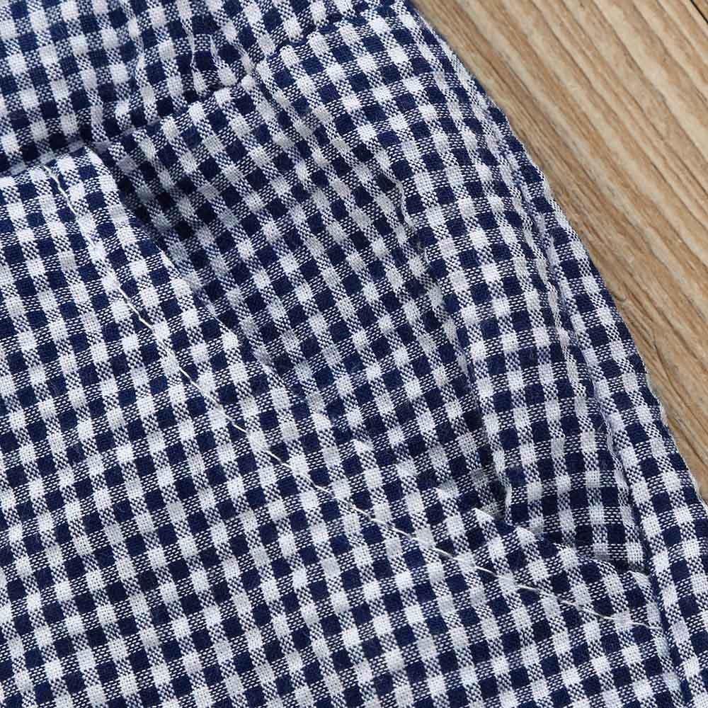 Shorts Pantalon Courte Casual Mode Tenues /Él/égant V/êtements 0-3 Ans Sunenjoy 2PC Ensembles B/éb/é Filles Gar/çons T-Shirt sans Manche Haut Carreaux Top Ecossais Gilet Bowknot Volants