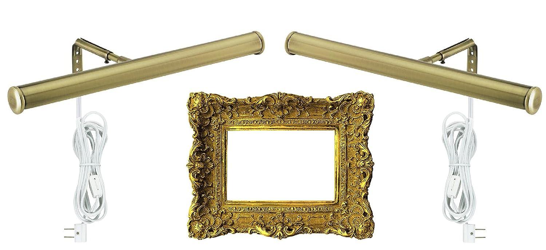 2-Lights, Antique Brass 14-Inch Picture Light Fixture Dysmio Lighting 75053