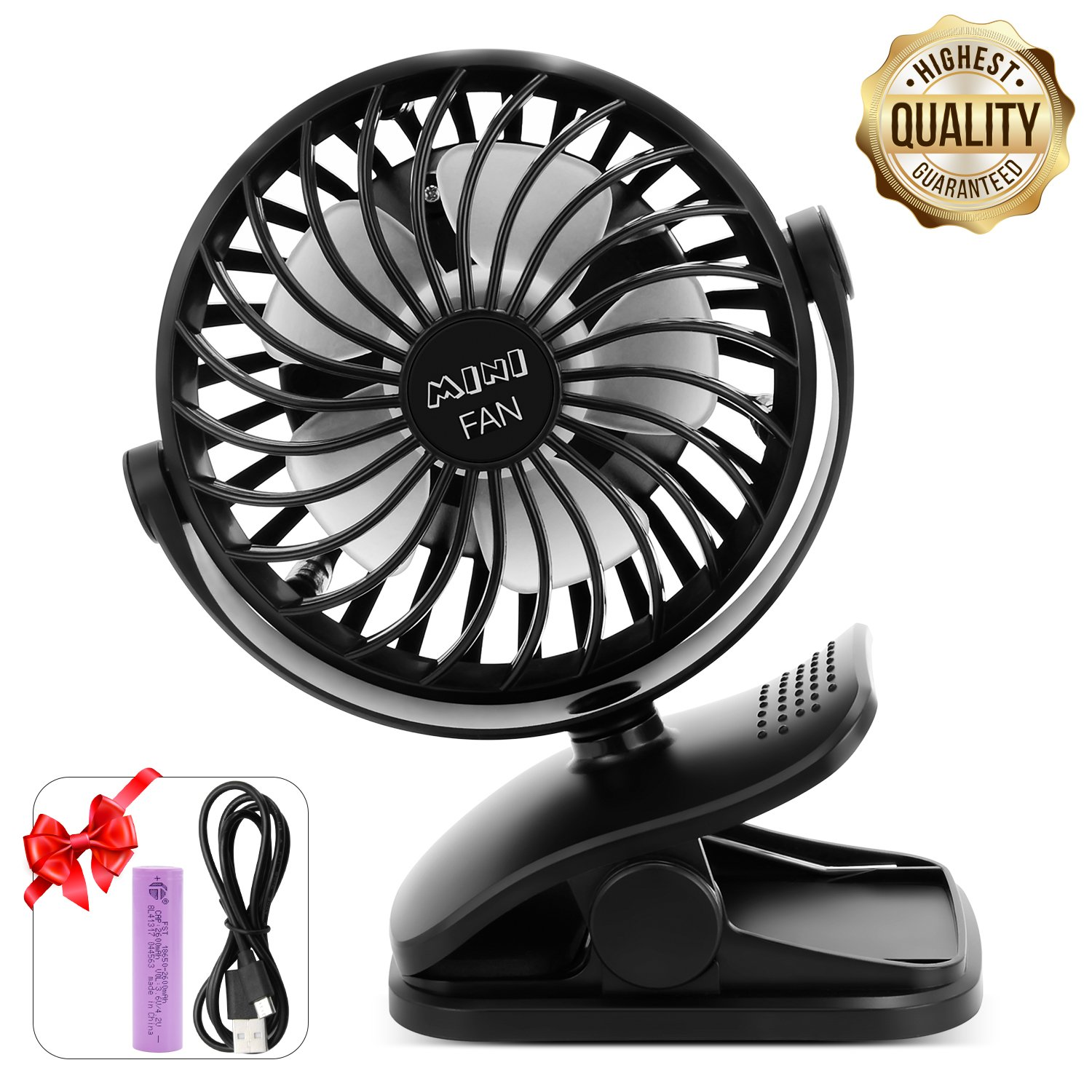 ESEOE Clip on Fan, USB Or 2600mAh Rechargeable Battery Operated Fan Small Desk Fan with 4 Speeds, 360 Degree Rotation Portable Stroller Fan for Baby S (Black) by ESEOE