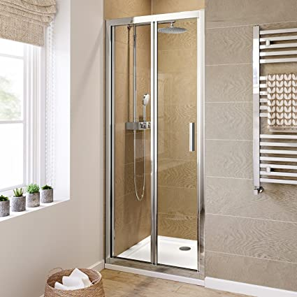 IBathUK 900mm Bifold Easy Clean 6mm Glass Shower Enclosure Reversible Folding Door