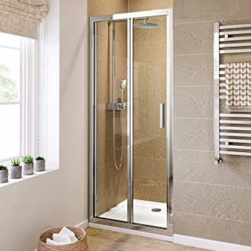 900mm bifold easy clean 6mm glass shower enclosure reversible folding door