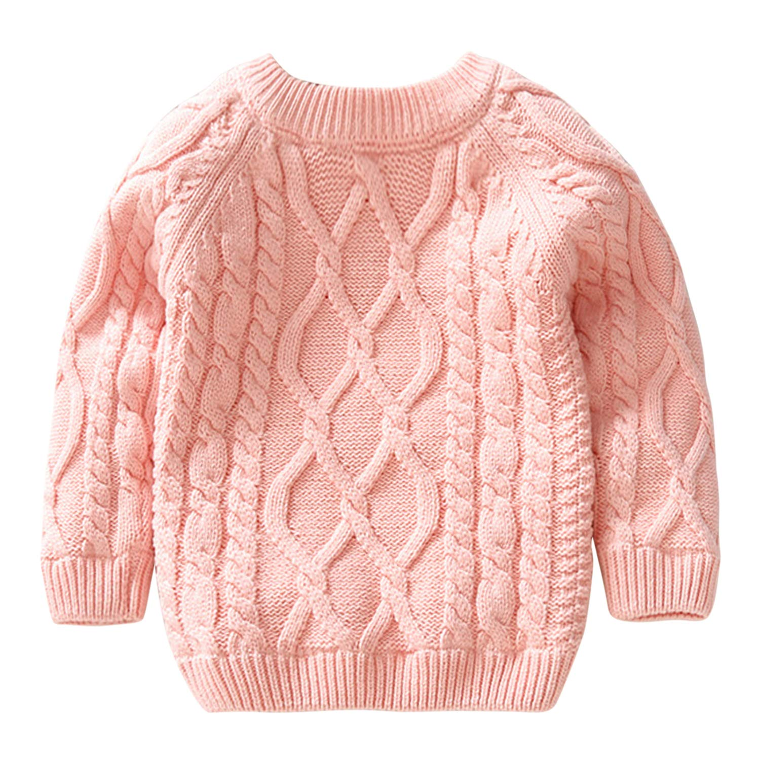 De feuilles Toddler Unisex Baby Cable Knit Pullover Sweater Chunky Knitted Jumper Knitwear with Warm Lining