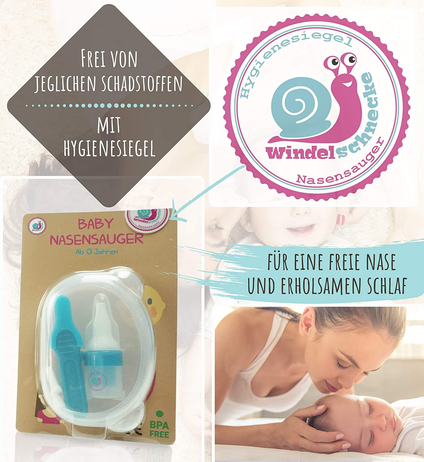Gentle Silicone German Brand Recommended by Midwives. Nose Ears Tweezers for Small Children Nasal Aspirator Test Winner for Babies Newborns and Toddlers Nasal Aspirator