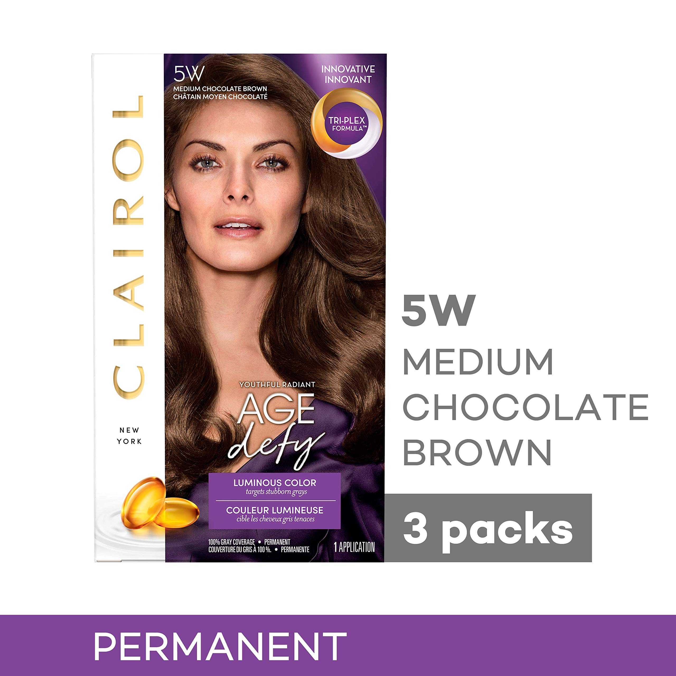 Clairol Age Defy Expert Collection, 5w Medium Chocolate Brown, 3 Count by Clairol