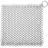Stainless Steel Cast Iron Cleaner, Chainmail Scrubber XL 8x6 inch for Skillet, Pan,