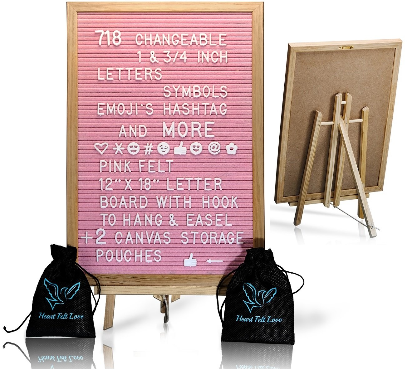 Pink Felt Letter Board With Easel Stand 12 x 18 | 718 Changeable Characters Including 1 inch and ¾ Letters, Symbols, Emojis Hashtag And More | Great For Instagram | Hook To Hang | 2 Storage Pouches Heart Felt Love