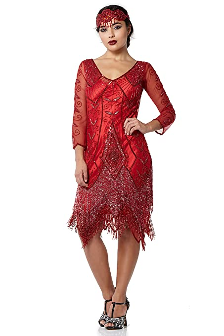 Vintage Inspired Cocktail Dresses, Party Dresses Scarlet Vintage Inspired Fringe Flapper Dress in Red $214.50 AT vintagedancer.com