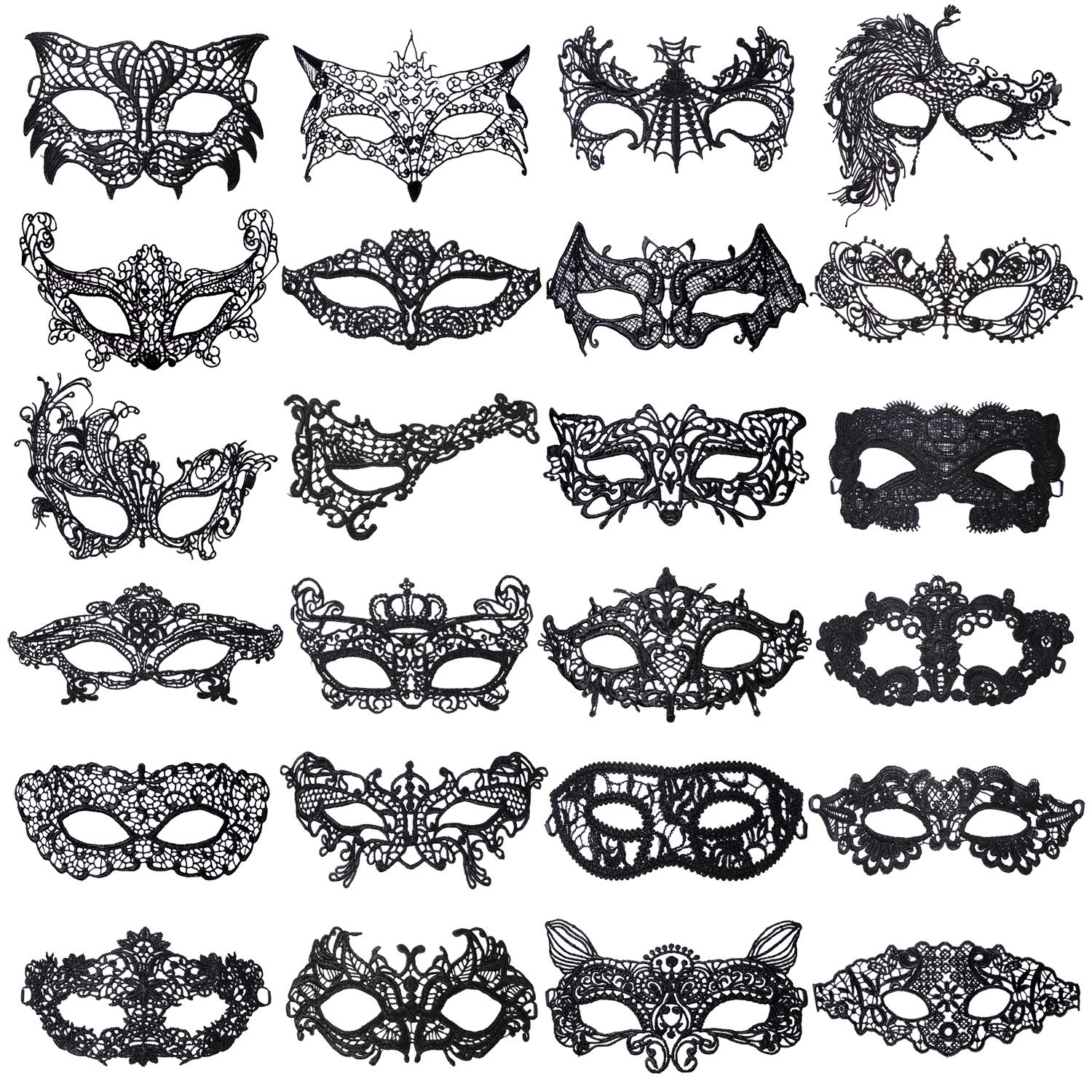 Aneco 24 Pieces Lace Masquerade Mask Halloween Venetian Eyemask Sexy Lace Eye Mask Mysterious Lace Mask for Carnival Party Costume Ball, Black by Aneco