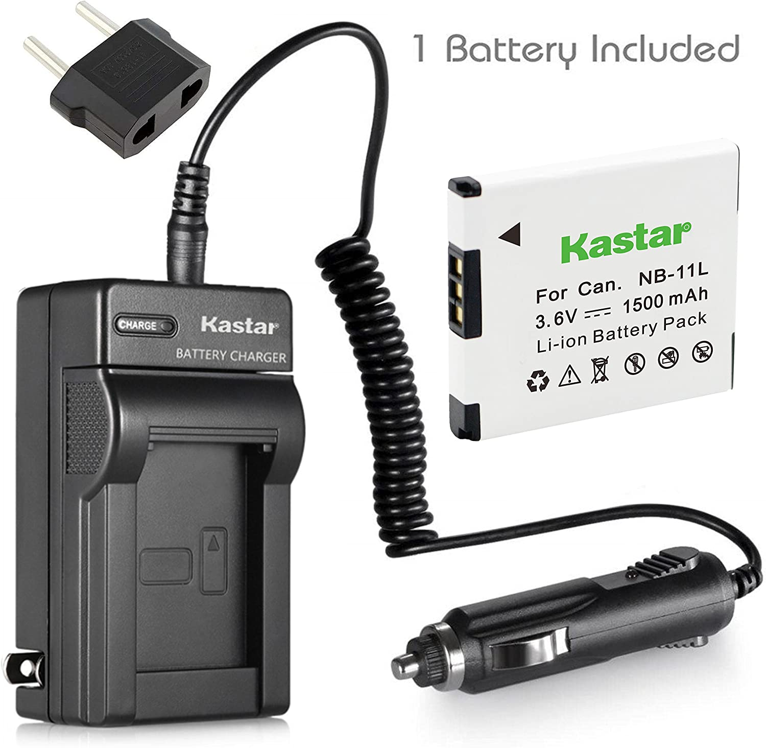 Kastar NB 11L Battery 1X and Charger for Canon PowerShot A2300 A2400 A2500 A2600 A3400 A3500 A4000 is ELPH 110 115 HS 30 HS 35 HS 140 HS 50 HS 320 HS