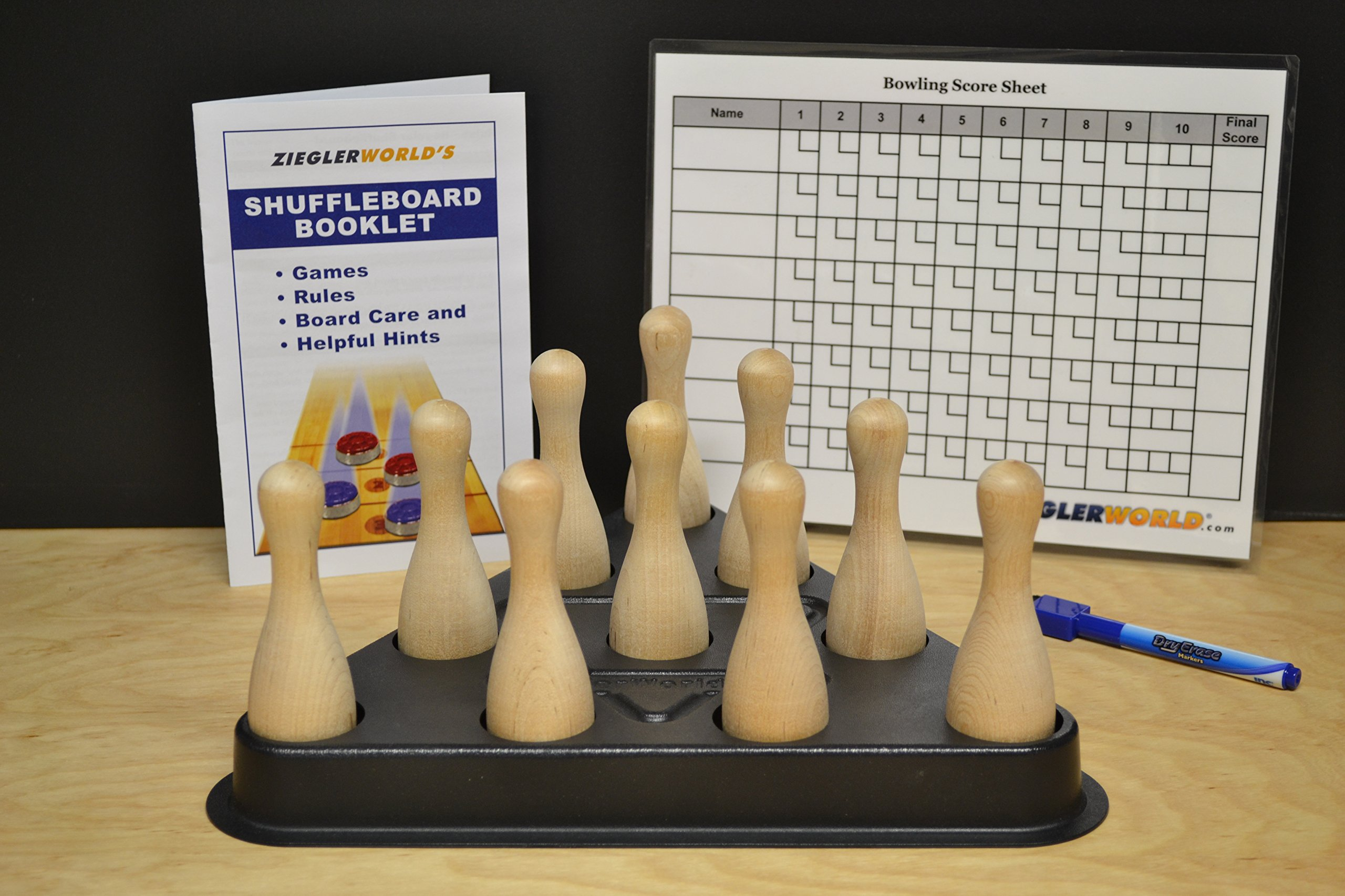 Table Shuffleboard Bowling Brown Pins - Pinsetter - Rules Booklet Scoring Chart & Storage Carrier Bag