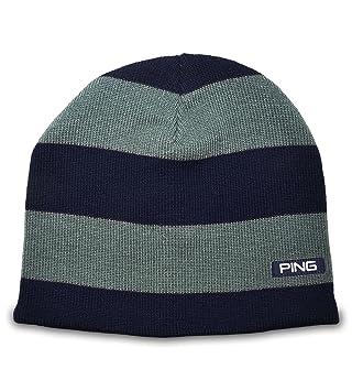 Ping Golf 2014 Mens Striped Knit Beanie Hat Cap NEW Blue Grey ... 8c828d055e5