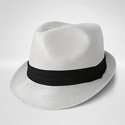 78945634bc9cbf Amazon.com: WHITE Straw Fedora Hat Trilby Cuban Cap Summer Beach Sun Panama  Short Brim Floral: Sports & Outdoors
