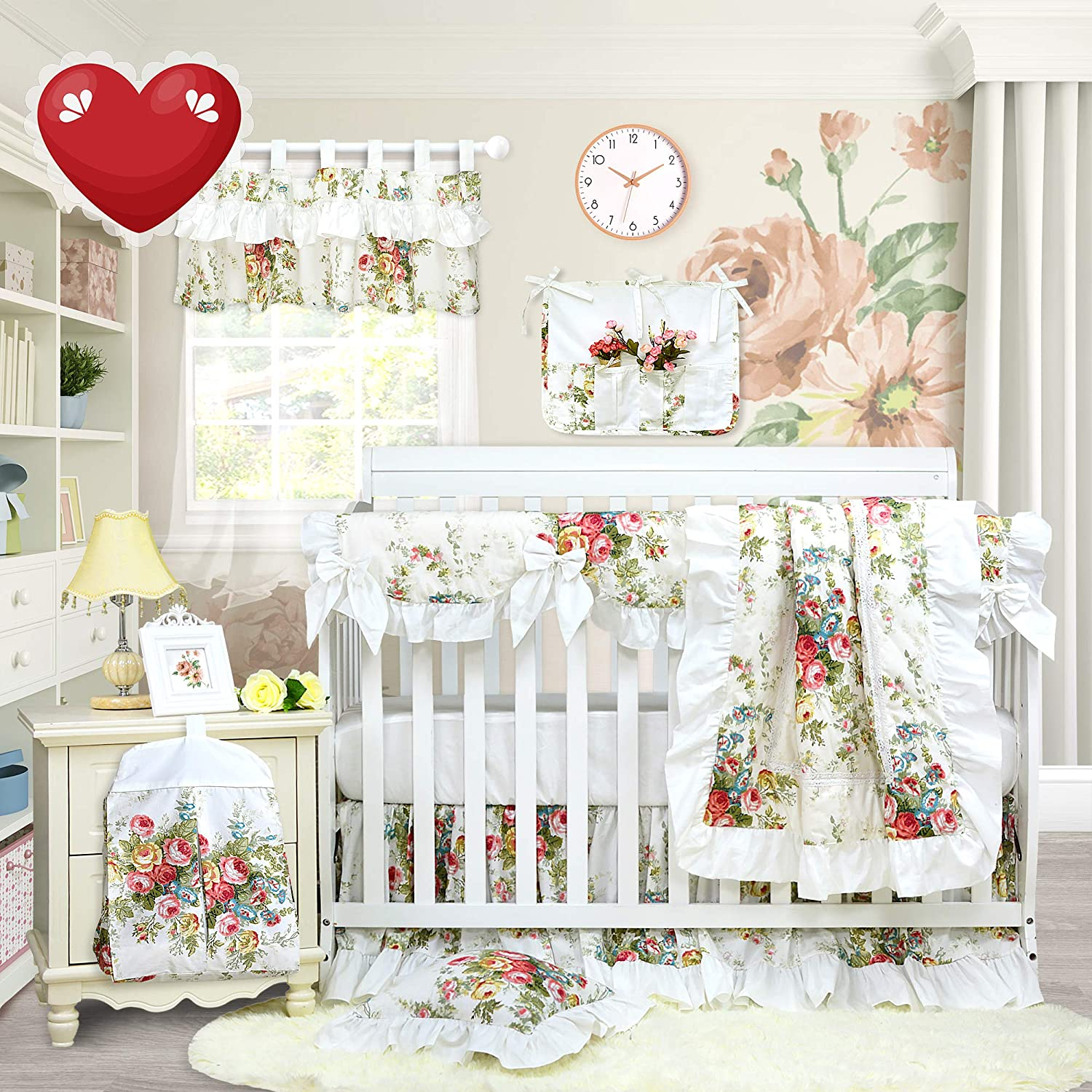 Brandream Crib Bedding Sets for Girls 9pieces Baby Nursery Crib Rail Cover Sets with 2 Packs Fitted Crib Sheets Set, 100% Cotton Floral Designer Crib Sets
