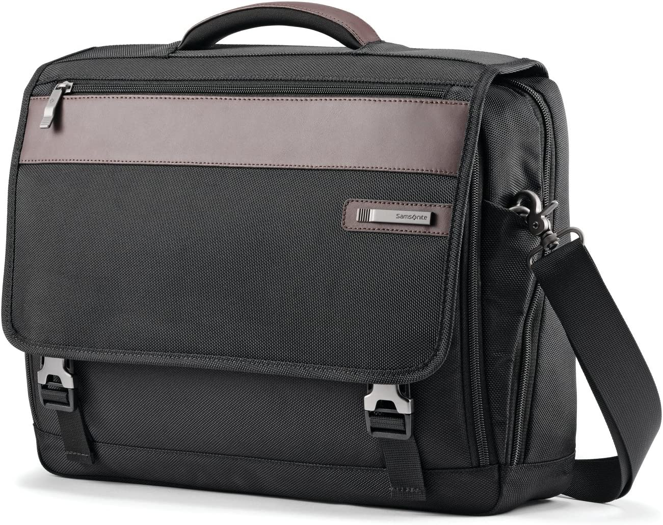 Samsonite Kombi Flapover Briefcase, Black/Brown, One Size